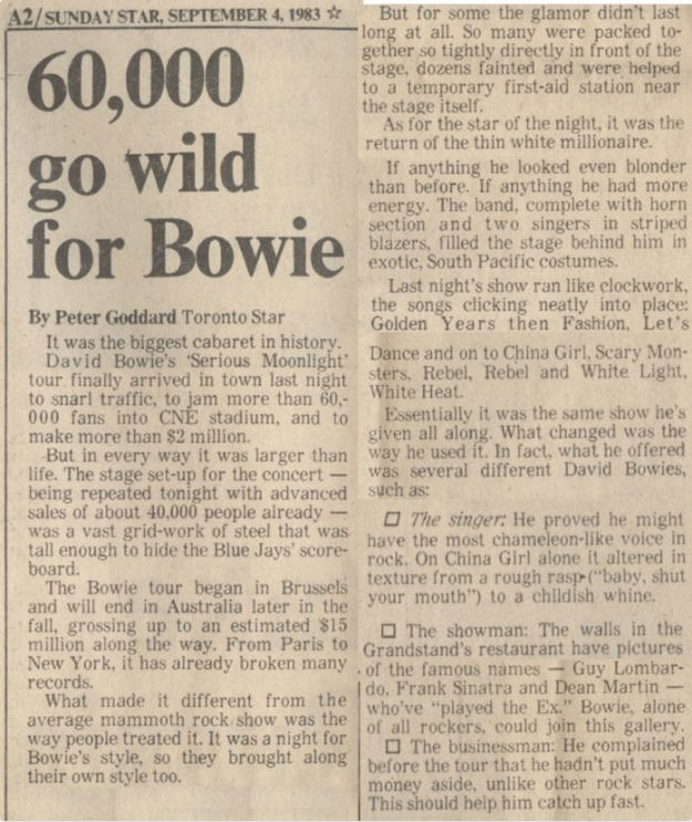 60,000 go wild for Bowie - Peter Goddard concert review